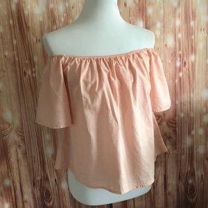 Express Peach Linen Blend Off Shoulder Blouse